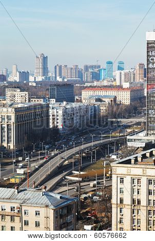 Transport Interchange On Avenue In Moscow