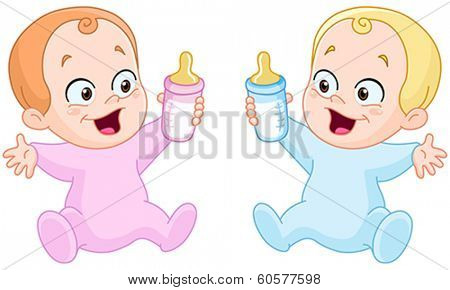 Happy baby girl and baby boy holding bottles