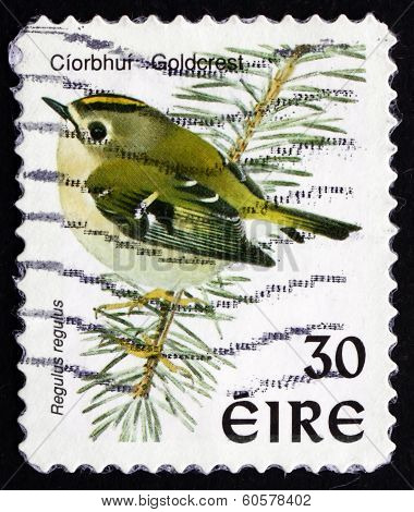 Postage Stamp Ireland 1998 Goldcrest, Passerine Bird