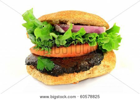 Vegetarian Burger With Organic Grilled Portobello Mushroom