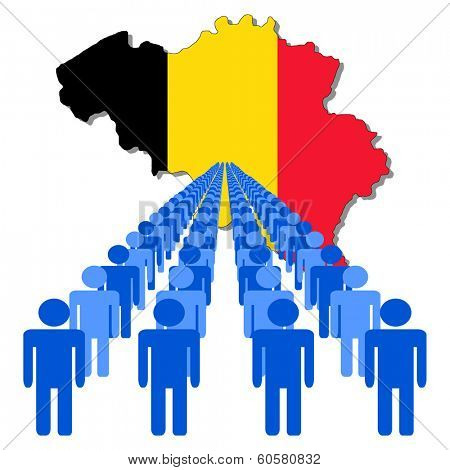 Lines of people with Belgium map flag vector illustration