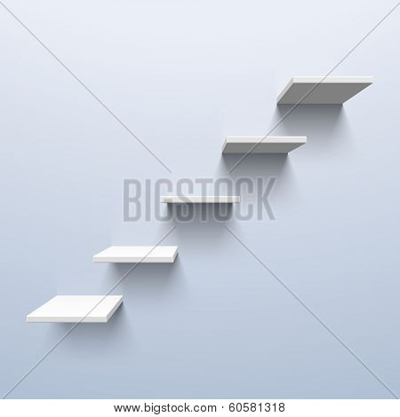 Shelves in the shape of stairs. Vector.