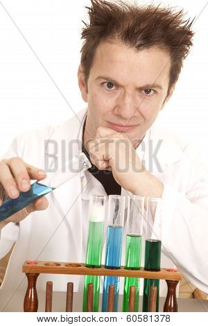 Mad Scientist Hold Blue Test Tube