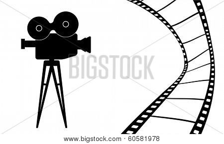 Cinematography camera and cinema movie vector illustration
