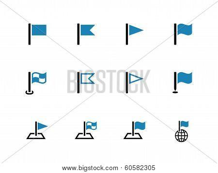 Flag duotone icons on white background.