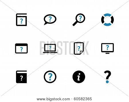 Help and FAQ duotone icons on white background.