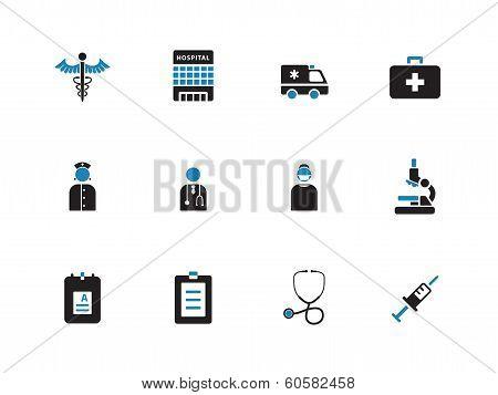 Hospital duotone icons on white background.