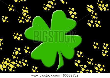 shamrock with gold stars