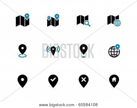 Map duotone icons. GPS and Navigation.