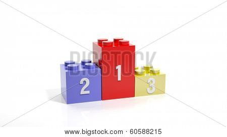 Three plastic blocks as podium isolated on white background
