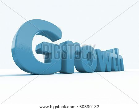 Word growth icon on a white background. 3D illustration.