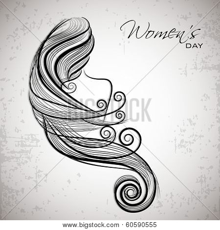 Happy Women's Day celebrations concept with illustration of a beautiful long hairs girl on grey background.