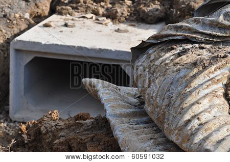 Storm Drain with old showing