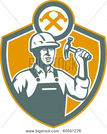 Builder Carpenter Hammer Shield Retro