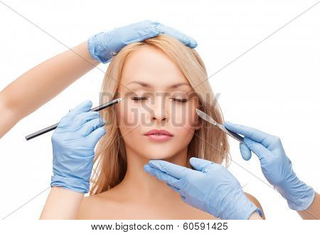 healthcare, beauty and medicine concept - beautiful woman face with closed eyes and beautician hands with pencil and scalpel