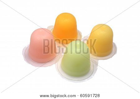 Colourful fruit jelly cup