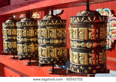 Praying Drums At Buddhist Temple