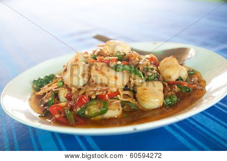 Spicy Shell Fried With Vegetables , Asian Style Food , Thailand