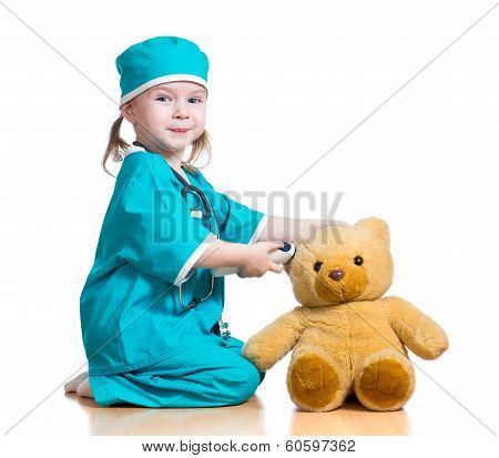 Doctor Girl Playing And Measuring  Temperature Toy Isolated On White