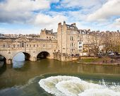 pic of avon  - Completed in 1774 designed by Robert Adam in a Palladian style Pulteney Bridge crosses the River Avon in Bath England UK Europe - JPG