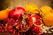 pumpkin and pomegranate on fabric background