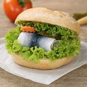 Fresh Sandwich With Herring And Lettuce