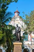 stock photo of bolivar  - Public statue of Simon Bolivar in the UNESCO World Heritage center of Mompox Colombia - JPG
