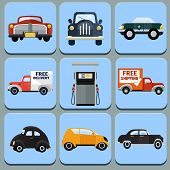 Car icon flat illustration -set