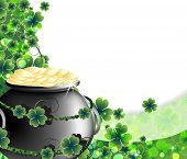 stock photo of gold panning  - Leprechaun Pot with gold coins on abstract clover background - JPG