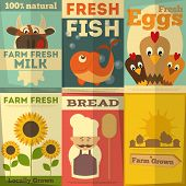 stock photo of food plant  - Organic Fresh Farm Food Posters Set - JPG