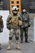 KIEV, UKRAINE - February 27, 2014: Ukrainian revolution. Euromaidan fighters protect the building of