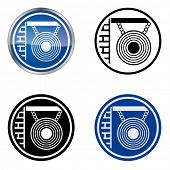 Picture of hairdresser and barber - traditional craftsmen's guild vector symbol, four variations. Version with mirror.