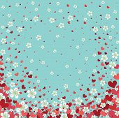 Heart Background With Cherry Flowers.spring Design