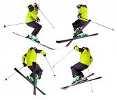 image of aerobatics  - Collection of skier jumping freeride tricks - JPG