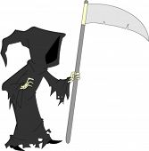 image of faceless  - Dark cloaked image of faceless grim reaper holding sickle - JPG