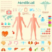 stock photo of male body anatomy  - illustration of Healthcare and Medical Infographics with male and female anatomy - JPG