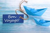 stock photo of bon voyage  - Label with the French Words Bon Voyage which means goog trip - JPG