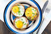 foto of portobello mushroom  - Baked stuffed mushrooms with eggs and herbs  - JPG