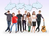 Smiling Young People Group With Funny Cartoon Clouds