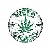 stock photo of marijuana leaf  - Green grunge rubber stamp with marijuana leaf and the text weed grass written inside the stamp - JPG
