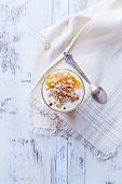 Yogurt with Peach Jam, Walnuts and Rye Flakes
