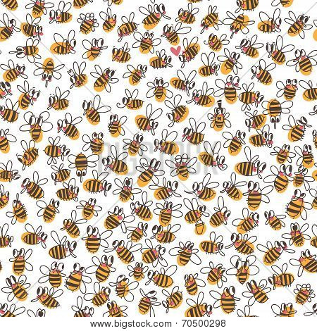 Vector Seamless Pattern With Bees. Use It As Pattern Fills, Web Page Background, Surface Textures, F