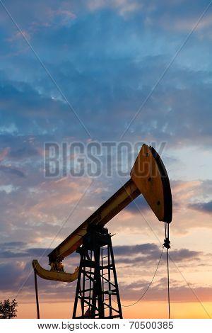 Pump Jack Extracts Oil In Caucasus Region