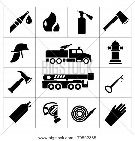 Set Icons Of Firefighter And Fireman