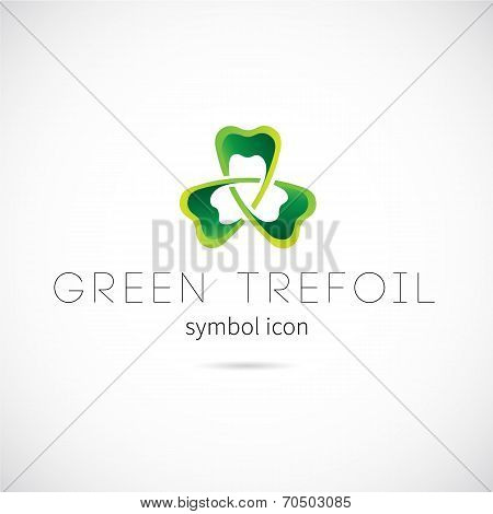 Green Trefoil Vector Concept Symbol Icon or Label