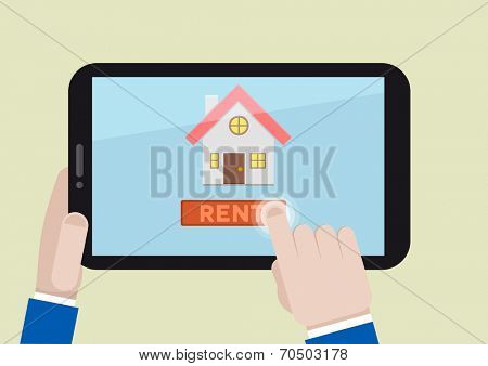 minimalistic illustration of renting a house on a mobile device, eps10 vector
