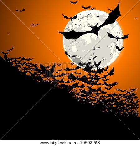 detailed illustration of a swarm of bats in front of a full moon, eps10 vector