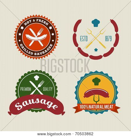 Sausage Badges Vintage Vector Set
