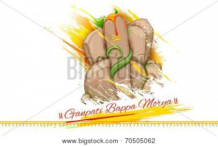 illustration of statue of Lord Ganesha made of rock for Ganesh Chaturthi with text Ganpati Bappa Morya (Oh Ganpati My Lord)