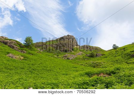 View of mountain at Blea Tarn Lake District Cumbria England UK Great Langdale
